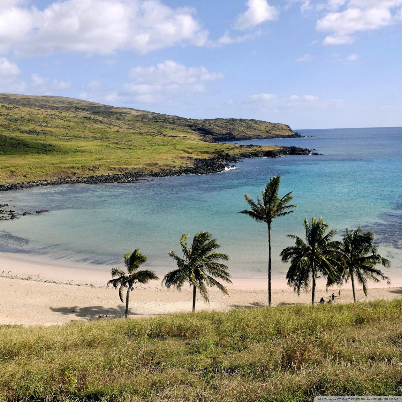 Easter Island Beaches: Anakena Beach Anakena Easter Island Chile 4K HD Desktop