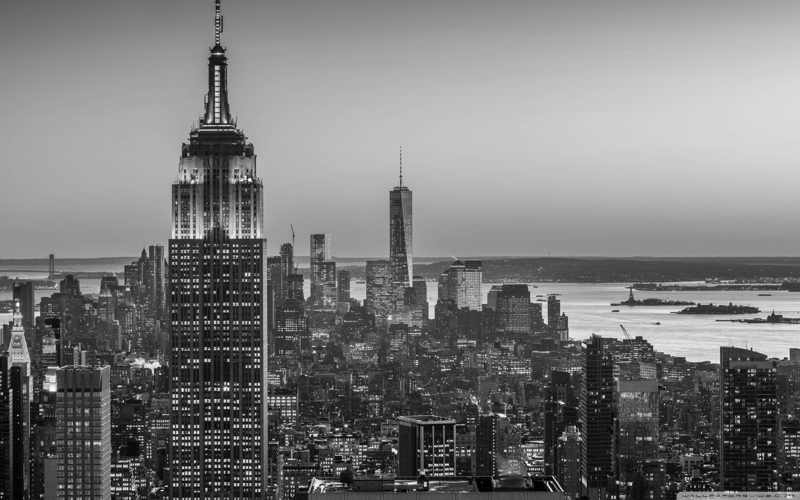 Empire State Building New York City Monochrome Ultra Hd