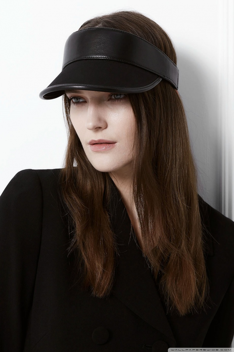 bb6909b1c33 Woman - Black Leather Sun Visor Hat ❤ 4K HD Desktop Wallpaper for ...