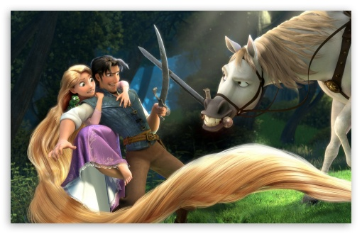 Tangled   Rapunzel, Flynn, Maximus HD wallpaper for Standard 4:3 5:4 Fullscreen UXGA XGA SVGA QSXGA SXGA ; Wide 16:10 5:3 Widescreen WHXGA WQXGA WUXGA WXGA WGA ; HD 16:9 High Definition WQHD QWXGA 1080p 900p 720p QHD nHD ; Other 3:2 DVGA HVGA HQVGA devices ( Apple PowerBook G4 iPhone 4 3G 3GS iPod Touch ) ; Mobile VGA WVGA iPhone iPad PSP Phone - VGA QVGA Smartphone ( PocketPC GPS iPod Zune BlackBerry HTC Samsung LG Nokia Eten Asus ) WVGA WQVGA Smartphone ( HTC Samsung Sony Ericsson LG Vertu MIO ) HVGA Smartphone ( Apple iPhone iPod BlackBerry HTC Samsung Nokia ) Sony PSP Zune HD Zen ; Tablet 2 Android ; Dual 5:4 QSXGA SXGA ;