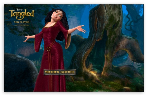 Tangled Mother Gothel HD wallpaper for Wide 16:10 5:3 Widescreen WHXGA WQXGA WUXGA WXGA WGA ; Mobile WVGA - WVGA WQVGA Smartphone ( HTC Samsung Sony Ericsson LG Vertu MIO ) ;